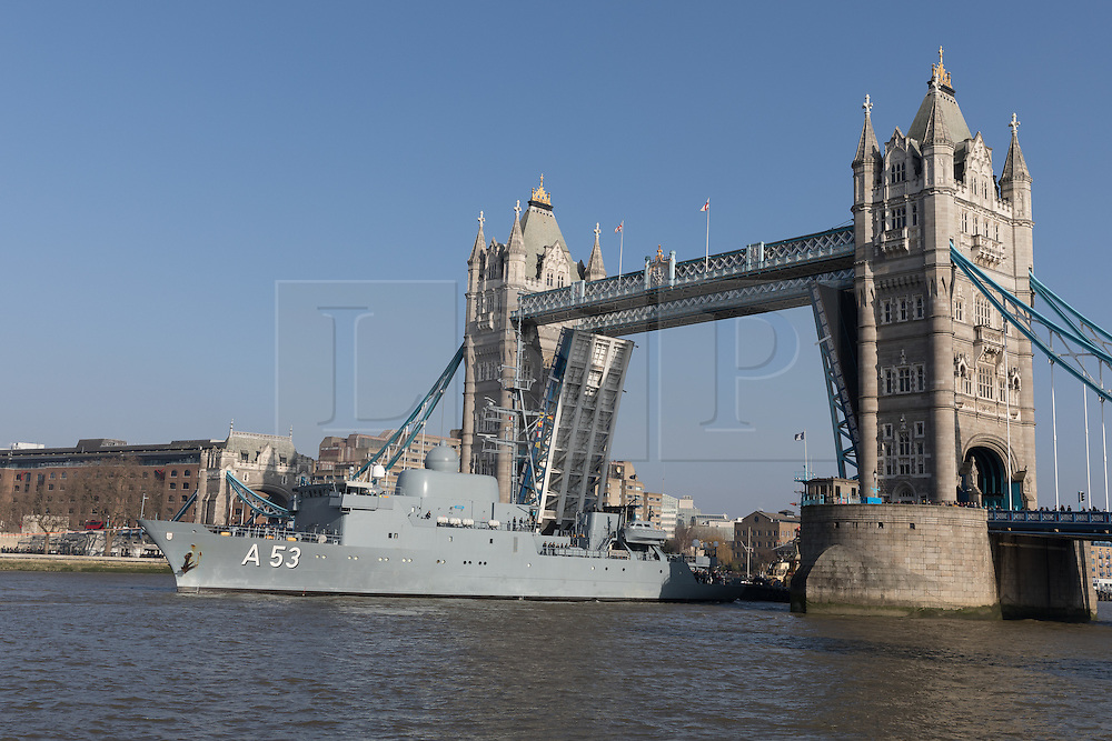 © Licensed to London News Pictures. 13/02/2017. LONDON, UK.  The German Navy spy ship, FGS Oker A53 leaves London, passing under Tower Bridge on the River Thames following a short London visit. FGS Oker A53 is one of the Oste class ships, that are purpose built intelligence collection spy ships and were primarily designed to gather data on Soviet warships.  Photo credit: Vickie Flores/LNP.