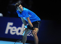 Tennis - 2019 Nitto ATP Finals at The O2 - Day Three<br /> <br /> Singles Group Bjorn Borg: Novak Djokovic (Serbia) vs.Domininic Thiem (Austria)<br /> <br /> Novak Djokovic can't believe Thiem's shot went in<br /> <br /> COLORSPORT/ANDREW COWIE
