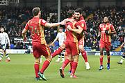 Milton Keynes Dons Midfielder, Jordan Moore-Taylor (15) scores to make it 0-1 goal celebration  during the EFL Sky Bet League 2 match between Bury and Milton Keynes Dons at the JD Stadium, Bury, England on 12 January 2019.