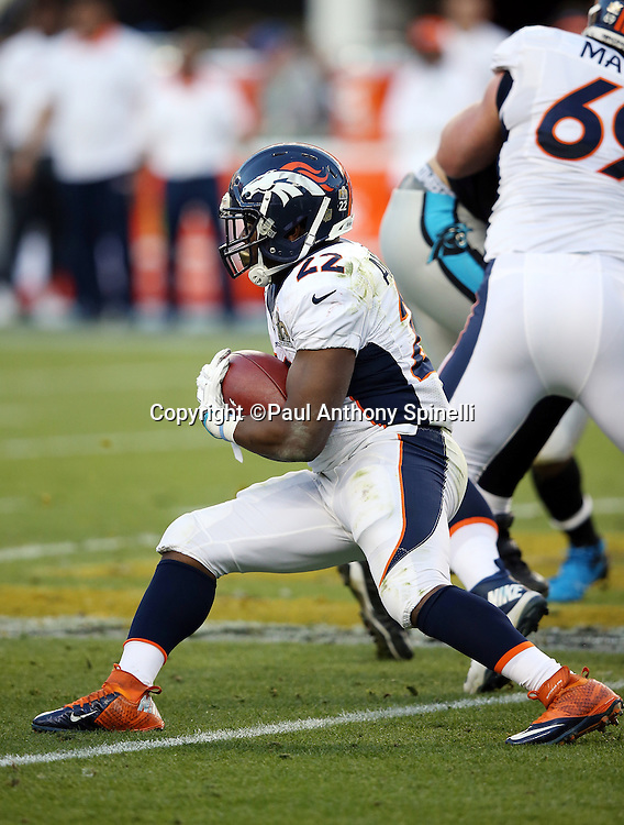 Denver Broncos running back C.J. Anderson (22) runs the ball during the NFL Super Bowl 50 football game against the Carolina Panthers on Sunday, Feb. 7, 2016 in Santa Clara, Calif. The Broncos won the game 24-10. (©Paul Anthony Spinelli)