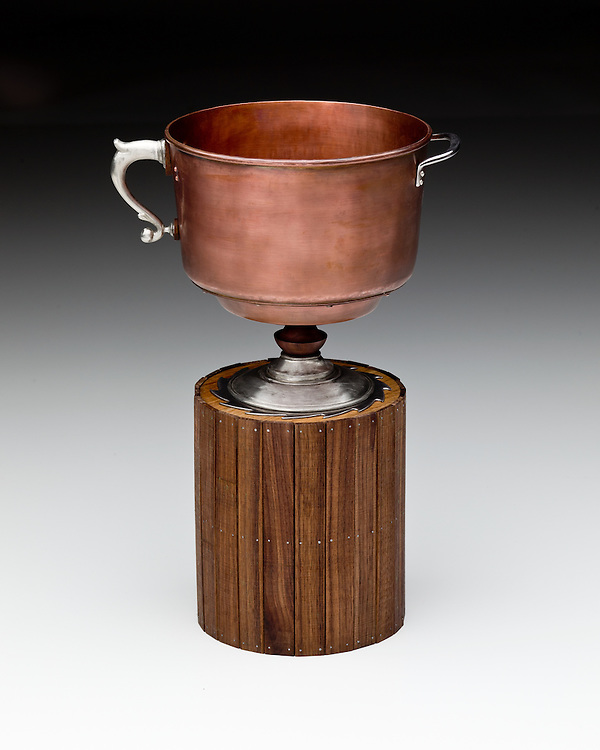 "Vernacular Cup by Jaydan Moore. Copper, pewter, steel, oak, wlanut and silver, 18"" high by 6"" diameter. Contact information for artist - Jaydan Moore  at jtmoore2@wisc.edu"