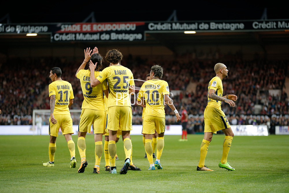 Edinson Roberto Paulo Cavani Gomez (psg) (El Matador) (El Botija) (Florestan) scored a goal from the ball served by Serge Aurier (psg), celebration with Adrien Rabiot (psg), Angel Di Maria (psg), Layvin Kurzawa (psg), Marcos Aoas Correa dit Marquinhos (PSG) during the French championship L1 football match between EA Guingamp v Paris Saint-Germain, on August 13, 2017 at the Roudourou stadium in Guingamp, France - Photo Stephane Allaman / ProSportsImages / DPPI