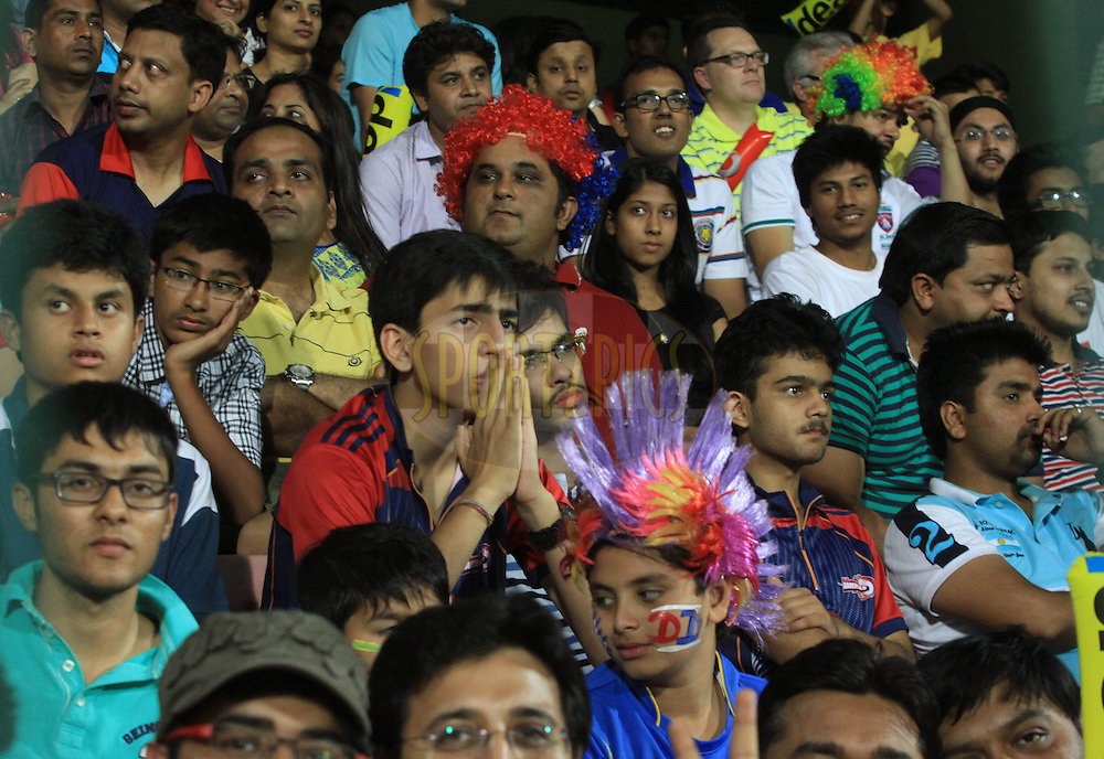 Fans reactions during match 23 of the Pepsi Indian Premier League Season 2014 between the Delhi Daredevils and the Rajasthan Royals held at the Feroze Shah Kotla cricket stadium, Delhi, India on the 3rd May  2014Photo by Arjun Panwar / IPL / SPORTZPICSImage use subject to terms and conditions which can be found here:  http://sportzpics.photoshelter.com/gallery/Pepsi-IPL-Image-terms-and-conditions/G00004VW1IVJ.gB0/C0000TScjhBM6ikg