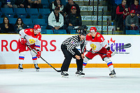 KAMLOOPS, CANADA - NOVEMBER 5: Alexander Alexeyev #4 and Artyom Galimov #9 of Team Russia line up for the face off against the Team WHL  on November 5, 2018 at Sandman Centre in Kamloops, British Columbia, Canada.  (Photo by Marissa Baecker/Shoot the Breeze)