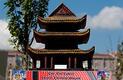 Scultures of world famous places from participants countries at 2010 FIBA World Championships on September 7, 2010 at the Sinan Erdem Dome in Istanbul, Turkey. At picture China - Chinese House.(Photo By Vid Ponikvar / Sportida.com)
