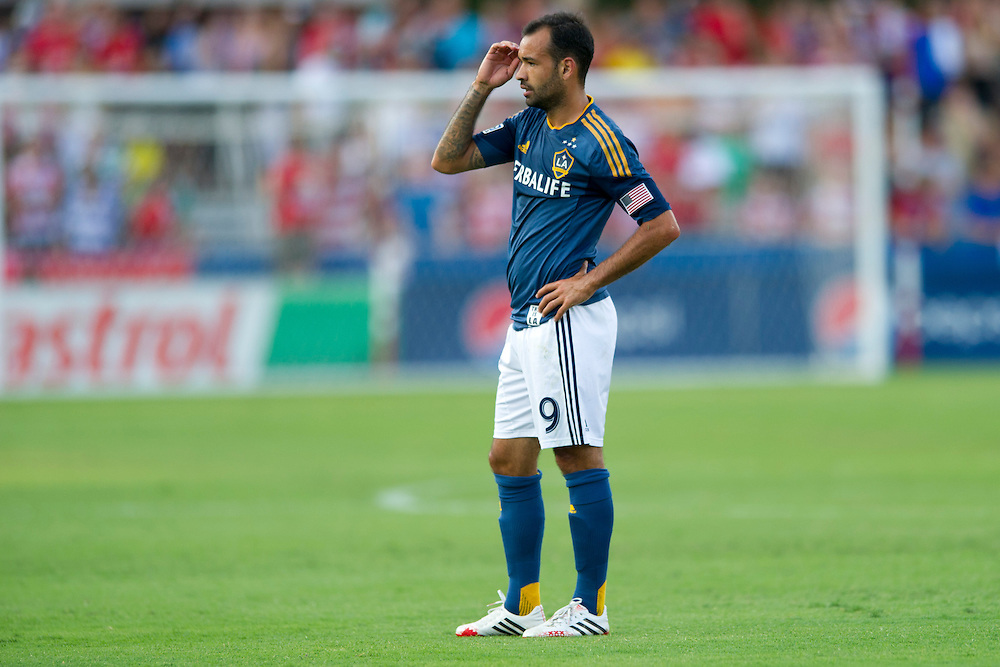 FRISCO, TX - AUGUST 11:  Juninho #19 of the Los Angeles Galaxy looks on against FC Dallas on August 11, 2013 at FC Dallas Stadium in Frisco, Texas.  (Photo by Cooper Neill/Getty Images) *** Local Caption *** Juninho
