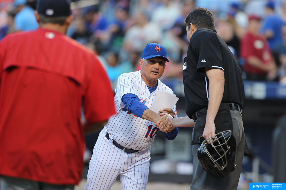 Terry Collins New York Mets Manager, exchenages batting line ups at home plate before the New York Mets Vs Washington Nationals. MLB regular season baseball game at Citi Field, Queens, New York. USA. 1st August 2015. (Tim Clayton for New York Daily News)