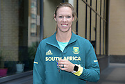 South Africa team caption Carina Horn poses  prior to the Athletics World Cup, Friday, July 13, 2018, in London, United Kingdom.