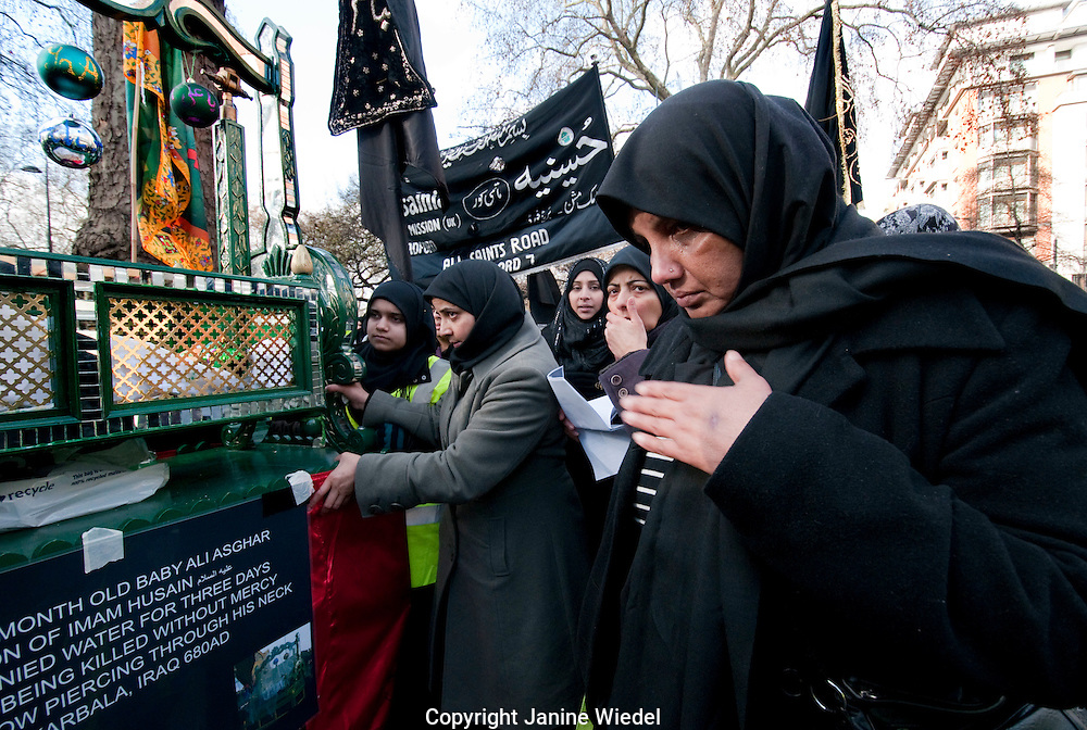 Hub- e -Ali  annual Arbaeen (Chelum) Procession of Shia Muslims marking martyrdom of Hussain grandson of Muhammad in Park Lane London