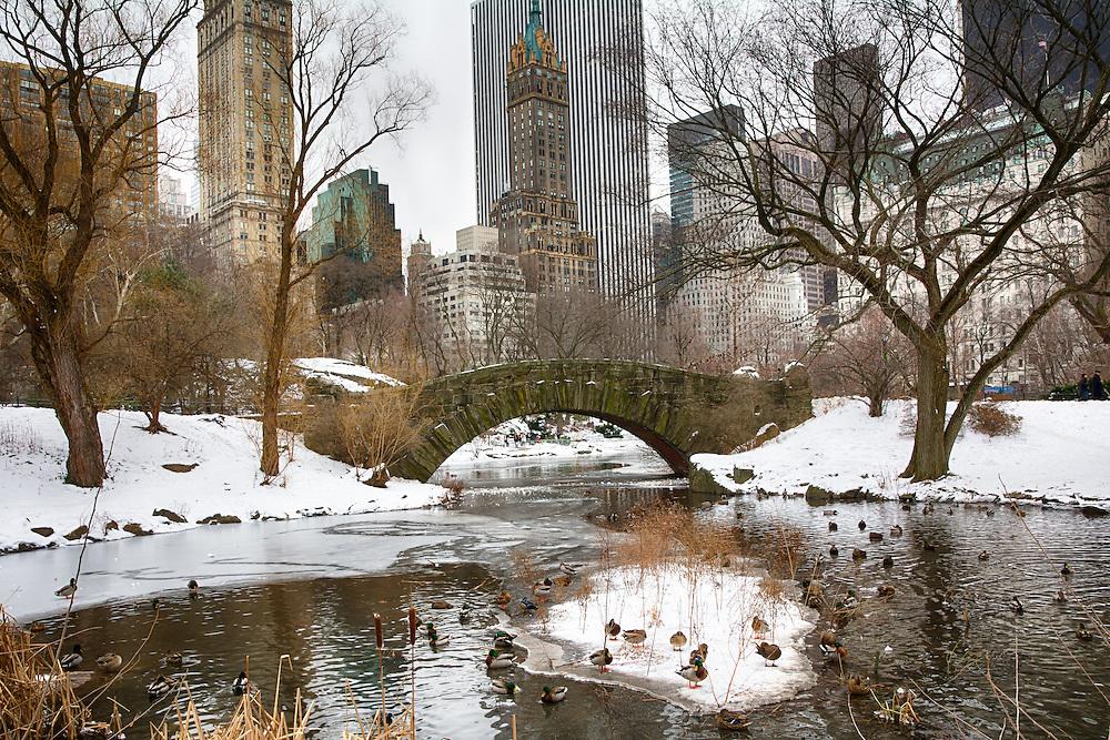 Gapstow Bridge, Central Park in winter