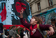 2012: Everyday Life. A young protestor yells during an anti-Government demonstration near Plaza de Mayo in Buenos Aires, Argentina on October 10. <br />