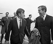 Heart transplant pioneer Dr Christian Barnard is greeted at Dublin airport by Dr John O'Connell, TD, editor of the Irish Medical Times, who had arranged for him to give a lecture on Cardiac Transplantation at the Royal College of Surgeons..11.11.1968
