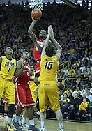 January 07, 2011: Ohio State Buckeyes guard William Buford (44) puts up a shot over Iowa Hawkeyes forward Zach McCabe (15) during the the NCAA basketball game between the Ohio State Buckeyes and the Iowa Hawkeyes at Carver-Hawkeye Arena in Iowa City, Iowa on Saturday, January 7, 2012.