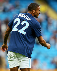 Danilo of Manchester City warms up wearing a shirt in support of the injured Benjamin Mendy - Mandatory by-line: Matt McNulty/JMP - 14/10/2017 - FOOTBALL - Etihad Stadium - Manchester, England - Manchester City v Stoke City - Premier League