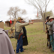 The 1st Texas Artillery Commander looks on as the rest of the squad is formed up by the overall officer in charge