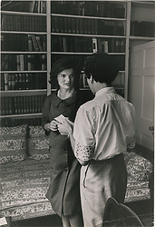 April 30, 2019 - Boston, Massachusetts, U.S. - JACKIE KENNEDY Maternity Dress up for auction. The lightweight wool dress features three-quarter-length sleeves, two pocket flaps, eight double-breasted buttons, and 'Lord & Taylor, Fifth Avenue' and 'Ma Mere' tags sewn into the cowl neck collar. Included with the dress are two vintage glossy black-and-white photographs, both showing Kennedy wearing the dress and working with her personal secretary, Mary Barelli Gallagher, in a second floor study of the Kennedy's Georgetown estate. (Credit Image: © Eddie Johnson Estate/RR AUCTION via ZUMA Wire/ZUMAPRESS.com)