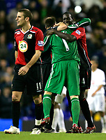 Photo: Tom Dulat.<br /> <br /> Tottenham Hotspur v Blackburn Rovers. The FA Barclays Premiership. 28/10/2007.<br /> <br /> Christopher Samba(R) and goalkeeper Brad Friedel(L) of Blackburn Rovers celebrating won game.