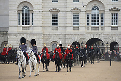 © Licensed to London News Pictures.30?11/2013. London, UK. Sacred soil from the battlefields of Flanders has been carried on a gun carriage at Horse Guards Parade. The soil arrived yesterday on a Belgian frigate and was loaded on to a gun carriage this morning. The gun carriage was drawn by six colour matched black Irish Draught horses and was taken to Wellington Barracks.Photo credit : Peter Kollanyi/LNP