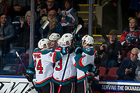 KELOWNA, CANADA - MARCH 3:  The Kelowna Rockets celebrate a goal against the Portland Winterhawks on March 3, 2019 at Prospera Place in Kelowna, British Columbia, Canada.  (Photo by Marissa Baecker/Shoot the Breeze)