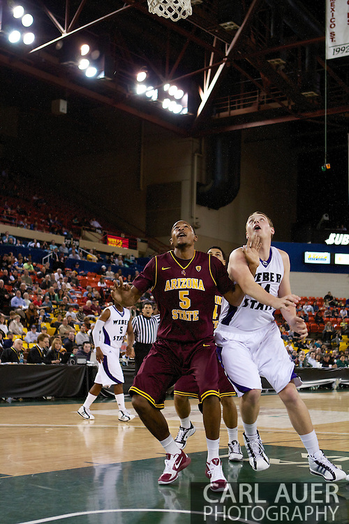 November 26th, 2010:  Anchorage, Alaska - Kyle Cain (5), a freshman forward for Arizona State battles with Weber State for a rebound in the Sun Devil's 59-58 win over Weber at the Great Alaska Shootout.