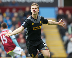 BIRMINGHAM, ENGLAND - Easter Sunday, March 31, 2013: Liverpool's Jordan Henderson celebrates scoring the first goal against Aston Villa during the Premiership match at Villa Park. (Pic by David Rawcliffe/Propaganda)