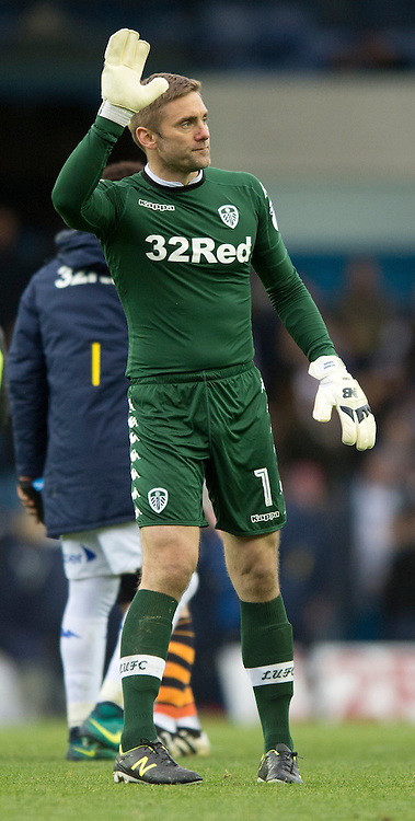 Leeds United goalkeeper Robert Green acknowledges his team's supporters following the Sky Bet Championship match at Elland Road, Leeds<br /> Picture by Russell Hart/Focus Images Ltd 07791 688 420<br /> 20/11/2016