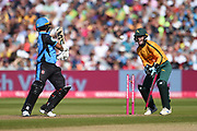 Bret D'Oliveira of Worcestershire Rapids is bowled by Matthew Carter during the Vitality T20 Finals Day 2019 match between Notts Outlaws and Worcestershire Rapids at Edgbaston, Birmingham, United Kingdom on 21 September 2019.