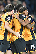 Hull City striker Chuba Akpom celebrates Hull City midfielder Tom Huddlestone scoring to go 3-0 up during the Sky Bet Championship match between Hull City and Middlesbrough at the KC Stadium, Kingston upon Hull, England on 7 November 2015. Photo by Ian Lyall.