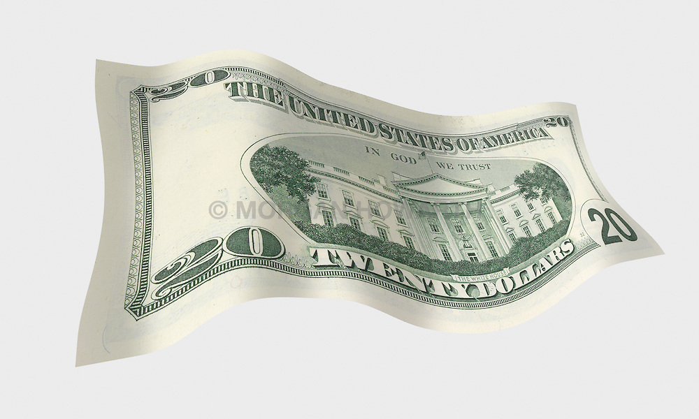 20 flat back 001 United States twenty dollar bill floating on air with a white background