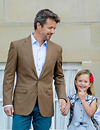 Copenhagen, 15-08-2017<br /> <br /> <br /> Prince Vincent and Princess Josephine start in Grade 0 at Tranegard School in Hellerup on Tuesday 15 August. In this connection, there was an opportunity for photography before departure from Frederik VIII's Palace, Amalienborg, where the Crown Prince Frederik and Crown princess Mary came out in front of the palace together with their two youngest children.<br /> <br /> <br /> <br /> <br /> <br /> Royalportraits Europe/Bernard Ruebsamen