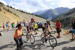 Haimar Zubeldia (ESP) Trek-Segafredo and Laurens Ten Dam (NED) Team Sunweb climb Col d'Izoard during Stage 18 of the 104th edition of the Tour de France 2017, running 179.5km from Briancon to the summit of Col d'Izoard, France. 20th July 2017.<br /> Picture: Eoin Clarke | Cyclefile<br /> <br /> All photos usage must carry mandatory copyright credit (© Cyclefile | Eoin Clarke)