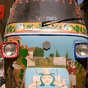 Piaggio Ape decorated in traditional manner by Sicilian artist and painter,  Franco Bertolino, Palermo, Sicily, Italy
