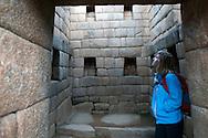Britt Whitelaw admires the stonework of the Incas at Machu Picchu in Peru.