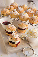 A British classic the Cream and Jam Scones. Shot for website and marketing materials for a cake company.<br />