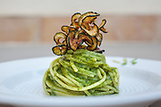 One of chef Gabriele Di Vincenzo's creations for the lucky guests at Mandranova Estate and Villas in Sicily. This is called Pasta al Pesto con Zucchine Fritte.
