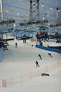 "Mall of the Emirates. Ski Dubai, an artificial ski slope complete with lifts and ski schools in a ""giant fridge"" in the middle of the desert, open since 2005."
