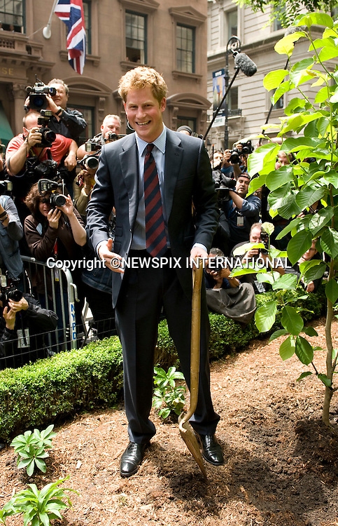 """PRINCE HARRY.PRINCE HARRY.Visits the British Garden at Hanover Square to officially name the Square.The Prince planted a Magnolia bush as part of the City's Million trees program._The Britsh Garden, Hanover Square_NYC_USA29/05/2009.Mandatory Photo Credit: ©Dias/Newspix International..**ALL FEES PAYABLE TO: """"NEWSPIX INTERNATIONAL""""**..PHOTO CREDIT MANDATORY!!: NEWSPIX INTERNATIONAL(Failure to credit will incur a surcharge of 100% of reproduction fees)..IMMEDIATE CONFIRMATION OF USAGE REQUIRED:.Newspix International, 31 Chinnery Hill, Bishop's Stortford, ENGLAND CM23 3PS.Tel:+441279 324672  ; Fax: +441279656877.Mobile:  0777568 1153.e-mail: info@newspixinternational.co.uk"""