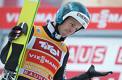 04.01.2015, Bergisel Schanze, Innsbruck, AUT, FIS Ski Sprung Weltcup, 63. Vierschanzentournee, Innsbruck, Finale, 2. Wertungssprung, im Bild Michael Hayboeck (AUT) // Michael Hayboeck of Austria reacts after his second competition jump for the 63rd Four Hills Tournament of FIS Ski Jumping World Cup at the Bergisel Schanze in Innsbruck, Austria on 2015/01/04. EXPA Pictures © 2015, PhotoCredit: EXPA/ JFK