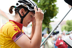 Race leader, Lisa Brennauer (GER) makes her way to sign on at Lotto Thuringen Ladies Tour 2018 - Stage 6, a 137.3 km road race starting and finishing in Gotha, Germany on June 2, 2018. Photo by Sean Robinson/velofocus.com