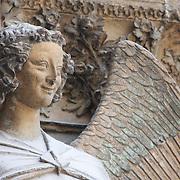 An angel near the main portal at Notre Dame de Reims