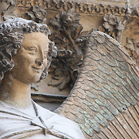 An angel near the main portal at Notre Dame de Reims
