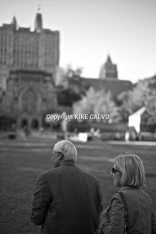 Elder couple visiting Yale University.