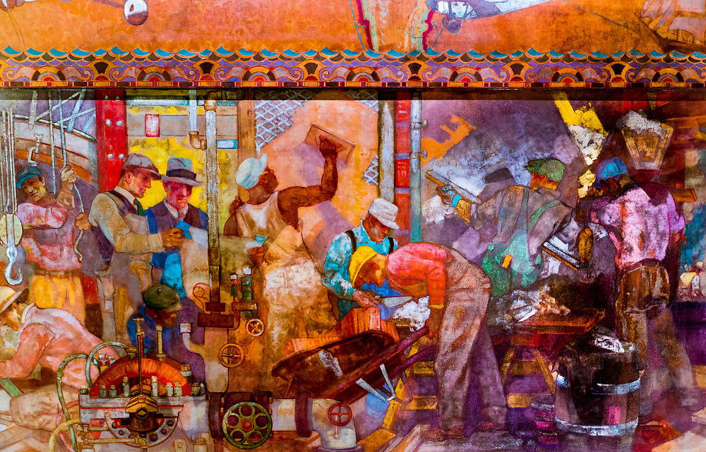 "This section of the huge ""Transport and Human Endeavor"" mural on the ceiling of the Chrylser Building's main lobby displays scenes of heroic industrialism.<br />