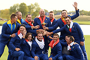 Team Europe : Francesco Molinari, Tommy Fleetwood, Tyrelle Hatton, Paul Casey, Sergio Garcia, Thomas Bjorn (Captain), Rory McIlroy, Alex Noren, Thorbjorn Olesen, Ian Poulter, Jon Rahm, Justin Rose, Henrik Stenson wins during the sunday singles session of Ryder Cup 2018, at Golf National in Saint-Quentin-en-Yvelines, France, September 30, 2018 - Photo Philippe Millereau / KMSP / ProSportsImages / DPPI
