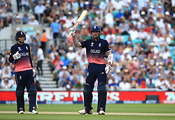 England's Alex Hales celebrates reaching 50 during the ICC Champions Trophy, Group A match at The Oval, London.