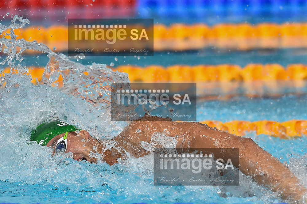 GLASGOW, SCOTLAND - JULY 25: Chad Le Clos  of South Africa in the mens 4x100 Freestyle final in the during the swimming on day 2 of the 20th Commonwealth Games at Tollcross Swimming Centre on July 25, 2014 in Glasgow, Scotland. (Photo by Roger Sedres/ImageSA)