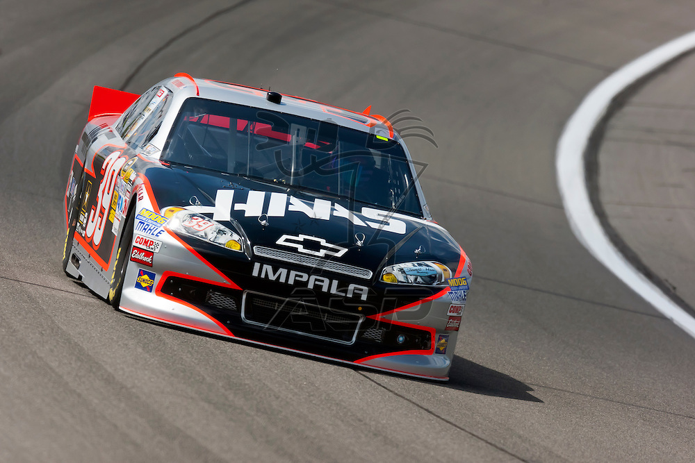 KANSAS CITY, KS - APR 20, 2012:  The NASCAR Sprint Cup teams take to the track for a practice session for the STP 400 at the Kansas Speedway in Kansas City, KS.