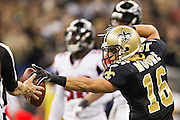 NEW ORLEANS, LA - DECEMBER 26:   Lance Moore #16 of the New Orleans Saints signals first down during a game against the Atlanta Falcons at Mercedes-Benz Superdome on December 26, 2011 in New Orleans, Louisiana.  The Saints defeated the Falcons 45-16.  (Photo by Wesley Hitt/Getty Images) *** Local Caption *** Lance Moore