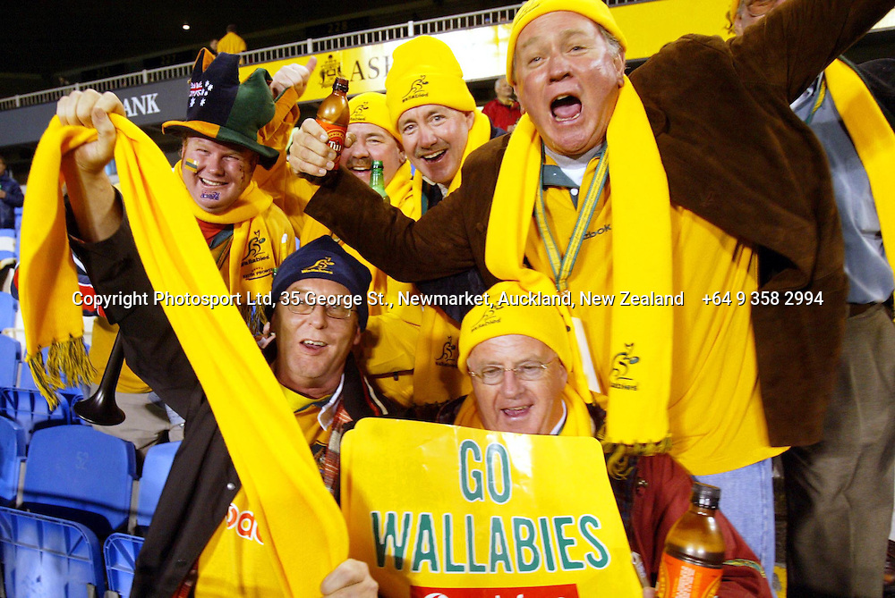 16th August 2003, Eden Park, Auckland, New Zealand.  Bledisloe Cup and Tri-Nations final between the All blacks and the Wallabies.<br />Wallaby fans.<br />Pic: Ollie Dale/Photosport