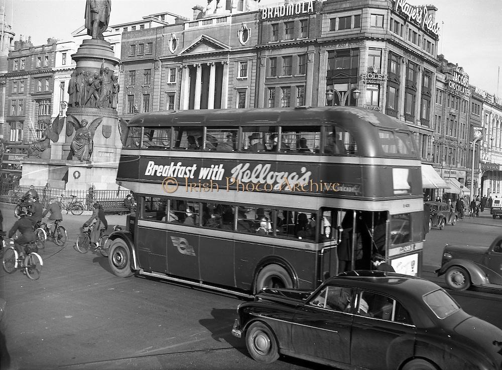 04/11/1954<br /> 11/04/1954<br /> 04 November 1954<br /> Kellogg's breakfast cereal advertisement on bus on O'Connell Street, Dublin.